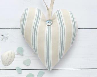 Duck Egg Blue Hanging Heart Decoration, Rustic Coastal Decor Beach, Ocean Decor, Home Decor Cottage, Beach Wall Art
