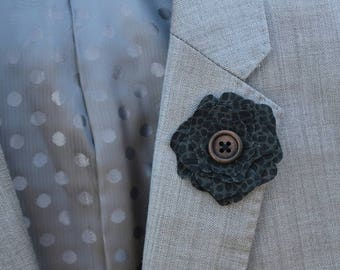 Black and Grey Flower Lapel Wooden Button Boutonniere