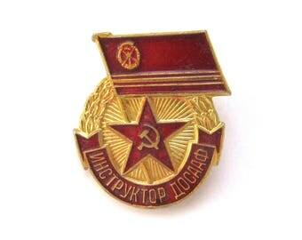 SALE, Instructor of DOSAAF, Sport, Soviet badge, Red Star, Vintage collectible badge, Soviet Vintage Pin, USSR, 1980s