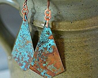 XMASINJULY Turquoise earrings - patina earrings - copper earrings - copper jewelry - gypsy earrings - long earrings - geometric earrings - r