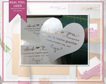 Personalized Foiled Heart Shaped Thank You Stickers - Shopping Small - Business Name