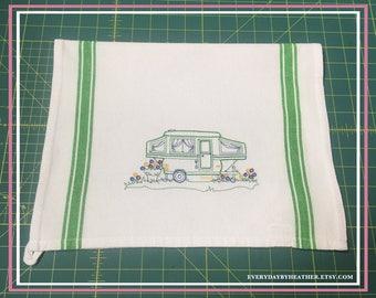 Happy Camper (Pop Up Trailer) Green Version Tea Towel | Embroidered Tea Towel | Kitchen Towel | Embroidered Towel | Hand Towel | Dish Towel