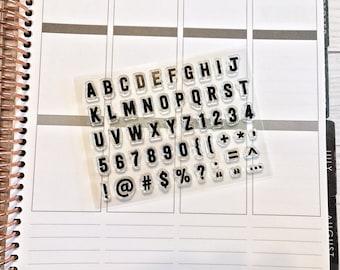 planner stamps, alphabet planner stamps, bullet journal stamps, habit tracker stamp, planner half box, mini solid alphabet stamps