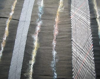 Band Brown taffeta fabric Tartan and plain fabric, yarn sewn vertically