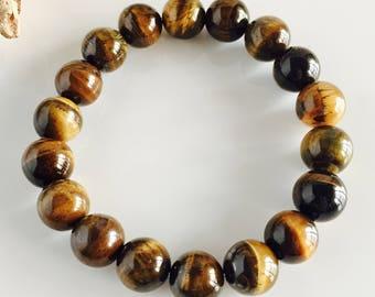 Genuine Polished Tiger's Eye Men's Stretch Bracelet