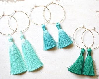 Silk Tassel Earrings, Tassel Hoop Earrings Gold, Tassel Earrings, Long Tassel Earrings, Fringe Earrings, Single Tassel Earrings