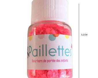 Glitter heart - neon pink color - 10 grams