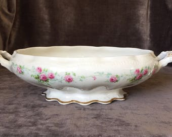 Shabby chic cottage chic pink rose bowl dish with handles TST taylor smith and taylor