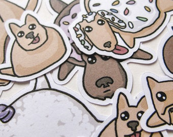 Donut Dog Stickers, Funny Food, Journaling, Sticker Flake, Stationery, Scrapbooking, Paper, Kawaii Stickers, cute puppies, sprinkles