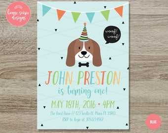 Doggy Birthday Invitation Printable // 5x7 Hipster Dog Birthday Invite - Boys Dog First Birthday - Girls Dog Theme First Birthday Invitation