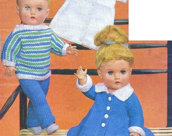 "17"" Dolls Clothes Knitting Pattern Double Knit and 4 ply pdf"