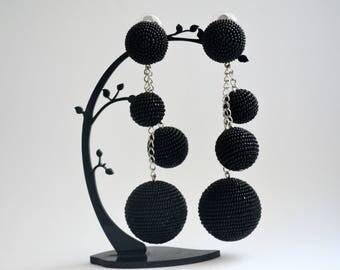 Beaded ball earrings. Handmade.