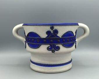 "Marei Keramik 1970s ,  blue and white colour,  decor ,, Brugge""  Mid Century Modern double handled Planter     West Germany."