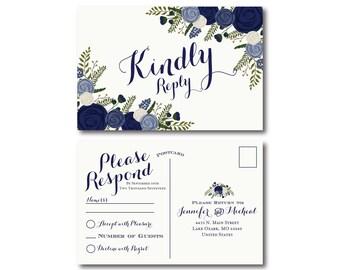Vintage Wedding RSVP Postcard, Fall Wedding, Vintage Floral, Floral Wedding, Vintage Wedding, RSVP Postcard, Wedding Postcard #CL249