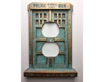 Tardis Outlet Cover - Aged Copper/Patina or Stone