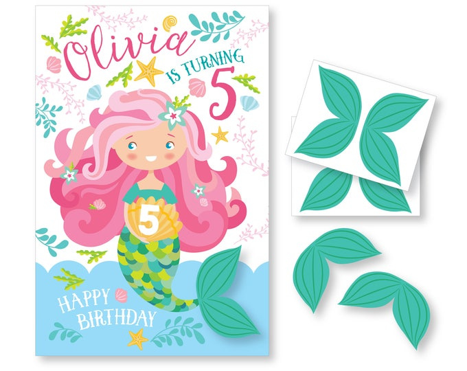 Pin the Tail on the Mermaid / Mermaid- party game - DIY party game - party game for girls - mermaid game - pink mermaid