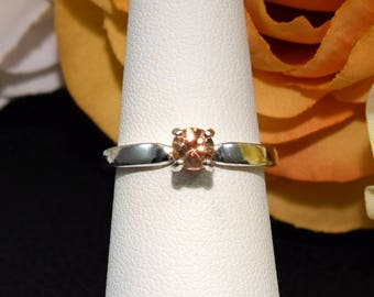 Authentic, Ouro Preto, Brazil, Imperial Topaz. Sterling Silver Ring. Size 6. Diamond Cut, 5mm. VVS Clarity. Golden Yellow Orange, Sherry.