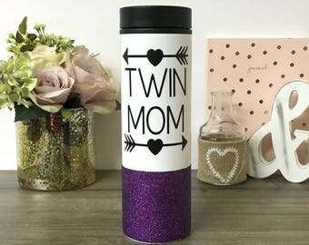 Twin Mom glitter Mug - Stainless Steel Coffee Travel Tumbler - Gift for Mom of Twins - Twin Mom Coffee Tumbler  Mother's Day - 16 oz Thermos