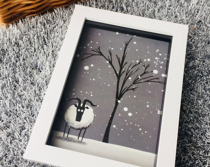 Featured listing image: Chill Spot - 3D White Box Framed Quirky Sheep ART Print