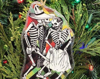 Skeleton Couple Wooden Handmade Ornament