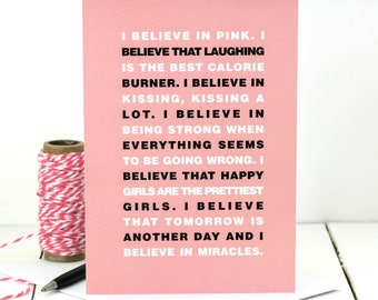 Audrey Hepburn Quote Card; I Believe In Pink Quote; Inspirational Quote Card; Card For Friend; Friendship Card; GC461