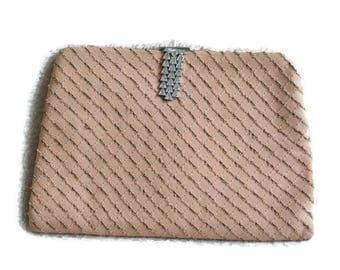 1940's Pink Evening Bag // Cute Vintage Clutch Bag with Diamante Details