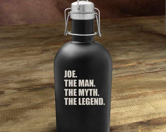 The Man. The Myth. The Legend Matte Black Growler - Monogram Beer Growler - Black Matte Stainless Steel Growler - Groomsmen Gifts - GC1532