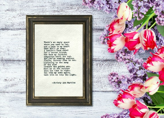 Pet Loss Gifts - Typed Poem - Personalized Pet Memorial - Loss of Pet - Dog or Cat Poem - Pet Gifts - Add Pet's Name