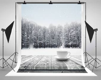 Winter Snow Covered Forest Photography Backdrops Wooden Table Hot Drink Photo Backgrounds for Beauty Nature Studio Props