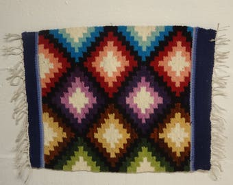 Native American Woven Textile Tapestry, Small Wall Tapestry / Rug / Placemat - FREE SHIPPING