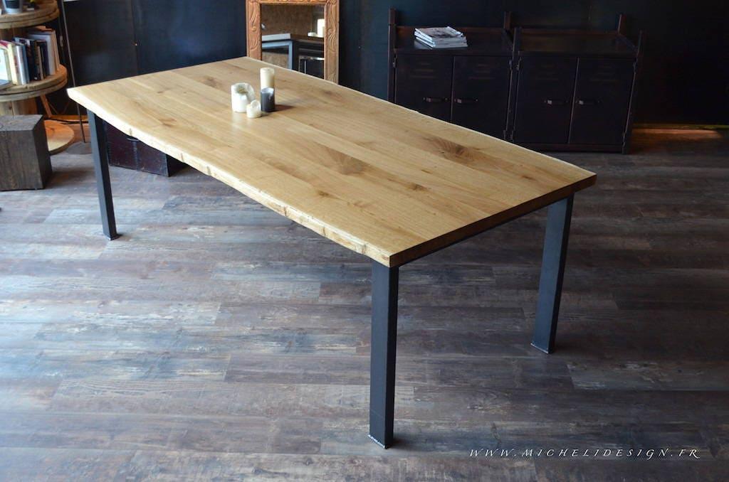 table de repas ch ne massif et pied acier sur mesure. Black Bedroom Furniture Sets. Home Design Ideas