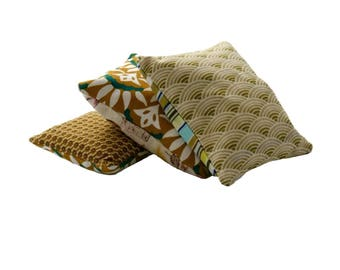 Trio of lavender sachets in olive green tonings