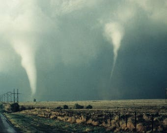 Twin Tornadoes From the Same Supercell, U.S. Great Plains Print/Poster. (4898)