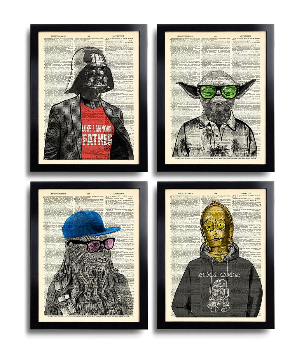 star wars art print set yoda office wall art set of prints. Black Bedroom Furniture Sets. Home Design Ideas