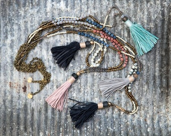 Long beaded necklace. Tassel necklace
