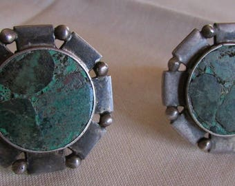 Serling Silver and Green Inlay Stone Cuff Links  William Spratling Taxco Mexico