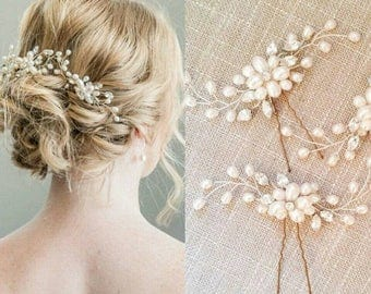 Gold and pearl hair pins, wedding, any occasion