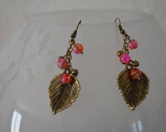 Leaf earrings and pink / orange