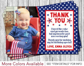 4th of July Birthday Thank You Card - Fourth of July Thank You Card