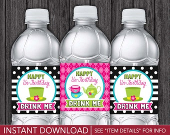 Alice in Wonderland Water Bottle Labels | Printable Mad Hatter Tea Party | Printable Digital File | INSTANT DOWNLOAD