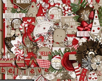 On Sale 50% Off Naughty or Nice Christmas 12x12 Digital Scrapbooking Kit, Holiday, Seasonal