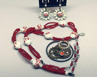 Victorian inspired, red, glass and gears, steampunk necklace and earring set