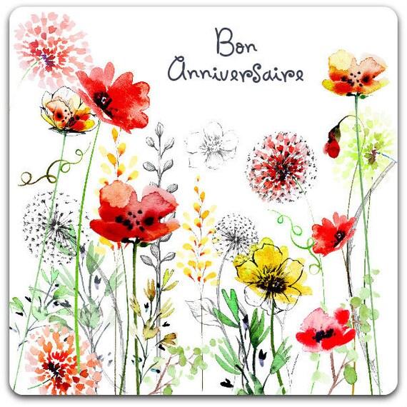 Sehr Carte double Fleurs Bon Anniversaire 15cm x 15cm Card Bubble RO54