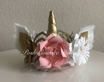 Unicorn Crown/ Unicorn Floral Crown/ Unicorn Lace Crown/ Unicorn First Birthday/ Unicorn Headband/ Unicorn Headpiece