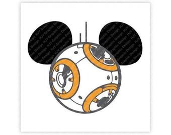 Disney, Star Wars, BB8, Mickey, Minnie, Mouse, Ears, Head, Icon, Digital, Download, TShirt, Cut File, SVG, Iron on, Transfer