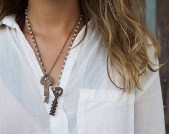 Unique vintage key necklaces in bronze