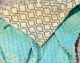 Personalized Minky Baby Blanket,Crib Bedding,Handmade Baby,Baby Gift,Geometric Print,Monogrammed,Aqua Minky Baby Blanket,Nursery Decor