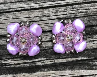 Vintage 1950's Lavender Bead And Stone Clip On Earrings