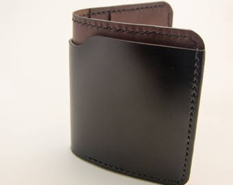 Black Shell Cordovan & Kangaroo Wallet, Billfold, Wallet, International Wallet, Leather Wallet, Horween Wallet