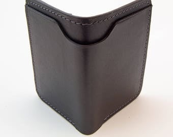 Black Horween Leather Wallet with Gray Stitching, Minimal Wallet, Front Pocket Wallet, Slim Wallet,  Bill Fold Wallet